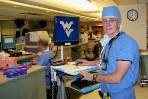 Dr Robert Johnstone in the WVU pre-op area. 
