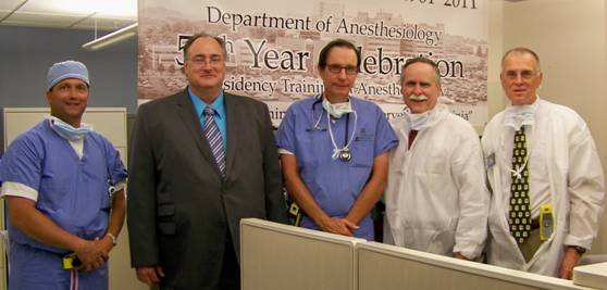 West Virginia anesthesiologists recently held a site visit for Rep David McKinley at WVU Hospital.