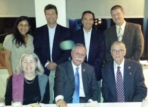 Picture of WV anesthesiologists with Congressman McKinley at a supper in Morgantown. First row, L-R: Mary and David McKinley, R. Johnstone. Second row, L-R: P. Ranganathan, B. Grose, M. Vallejo, C. Sizemore