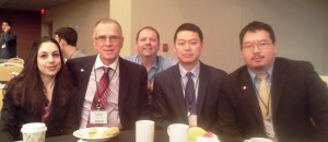 Morgantown anesthesiologists - Drs Jessica Jajorsky - Robert Johnstone - Jeff Gao and Jeremiah Jeffers at the 2015 Practice Management Conference - Wheeling anesthesiologist -Dr. Matt Watkins is behind them